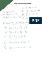 HOMEWORK - Multi Step Equations