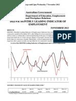 DEEWR Leading Employment Index (November 2012)