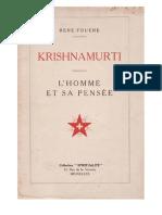 Krishnamurti, L'homme et sa pensée, par René Fouéré