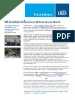 11-05-12 IRD Completes Restoration of Historic Kosovo Church