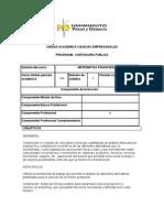 Microcurriculo Matemáticas Financieras
