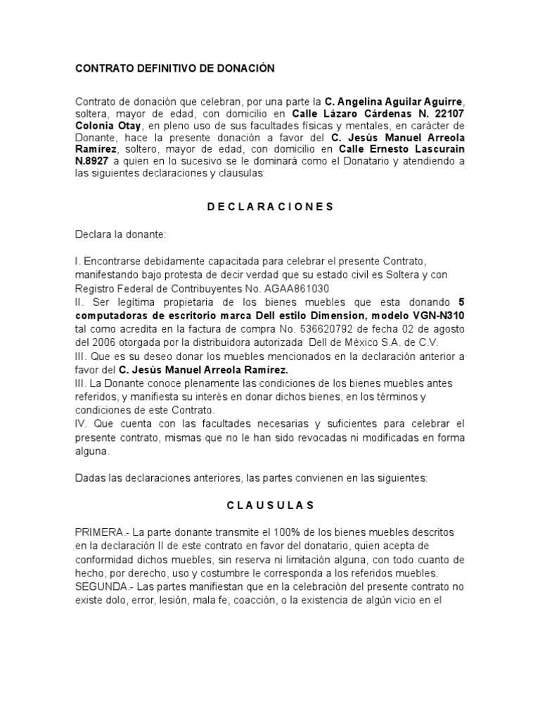 Contrato definitivo de donaci n for Arrendamiento de bienes muebles ejemplos