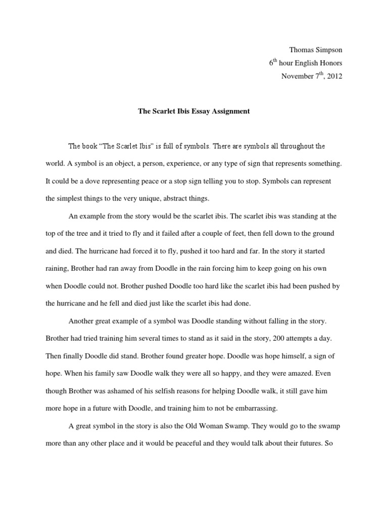 Narrative Essay Topics For High School Students  Science Essay Example also An Essay On Science The Scarlet Ibis Essay Thesis Statement Examples For Narrative Essays