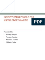 Incentivizing People for Knowledge Sharing