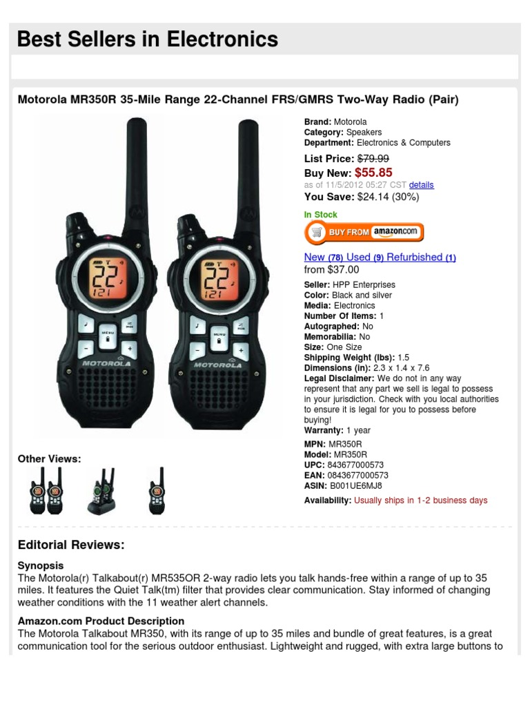 Motorola MR350R 35-Mile Range 22-Channel FRS/GMRS Two-Way