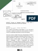 Ofício da Câmara Municipal de Sintra à Assembleia da República no âmbito da pronúncia sobre a Reorganização Administrativa