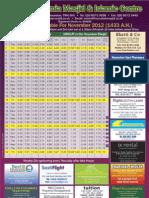 November 2012 Timetable
