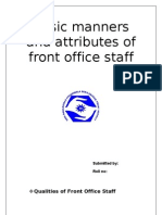 Basic Manners and Attributes of Front Office Staff