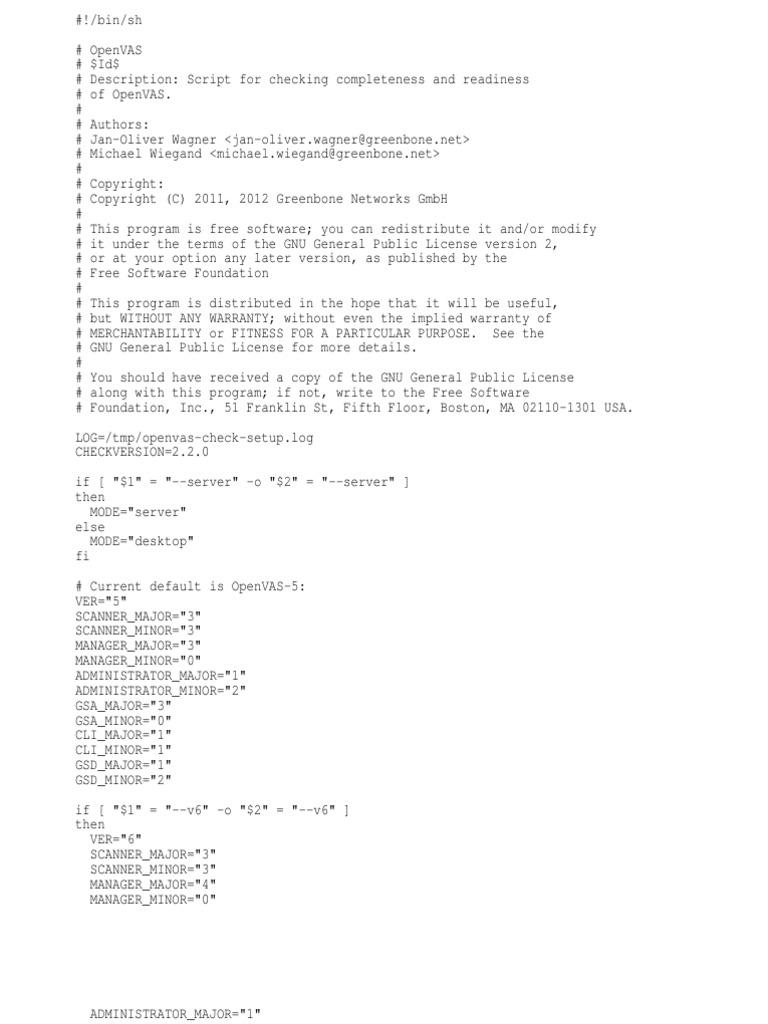 Openvas Check Setup   Gnu   Free Software