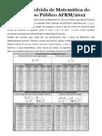 Prova resolvida de Matemática do Concurso Público AFRM
