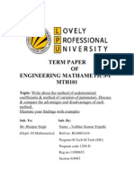 Engineering Mathematics Term Paper Review