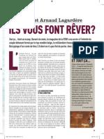 """""""Jade Foret et Arnaud Lagardère, ils vous font rêver ?"""", Marie Frankinet & Fernand Letist, Moustique, 7 novembre 2012"""