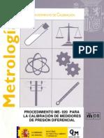 ME- 020 CALIBRACIÓN DE MEDIDORES DE PRESIÓN DIFERENCIAL