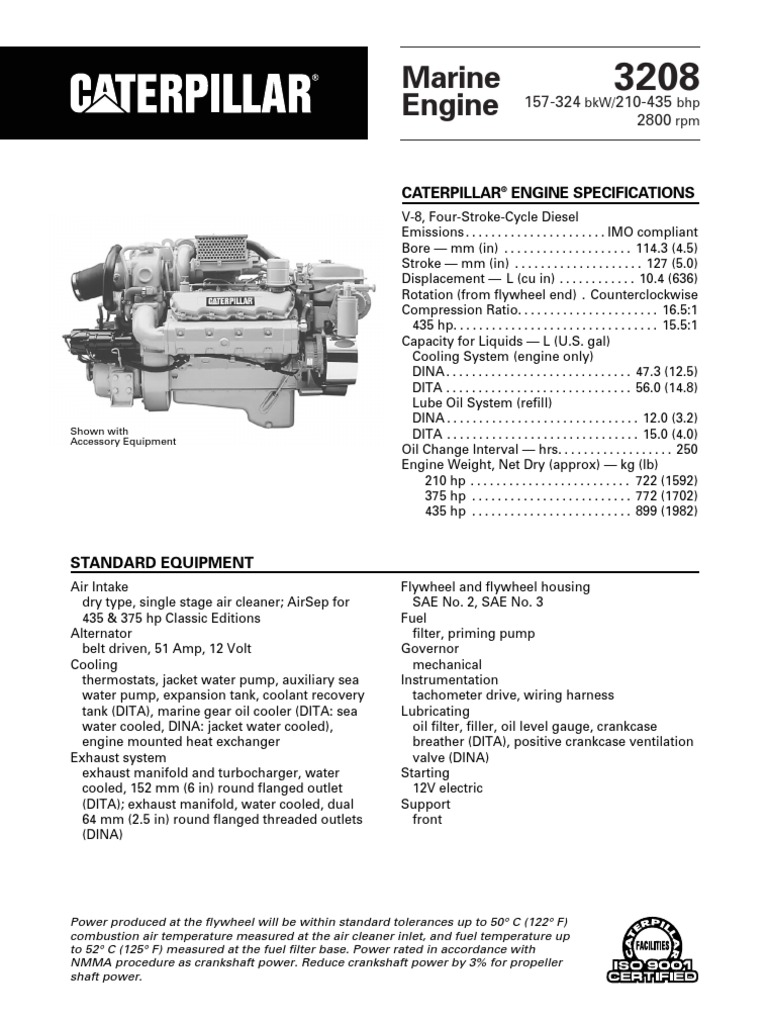spec sheets cat 3208 propulsion horsepower propulsion rh scribd com 3208 cat marine engine manual 3208 Cat Engine Problems