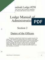 Administration Manual Shenandoah Lodge #258, Order of the Arrow