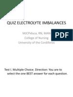 Quiz Electrolyte Imbalances