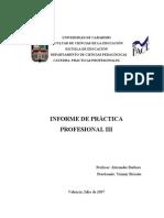 INFORME DE PRACTICA III FINAL Yimmy Briceño