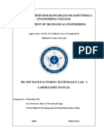 ME2207 MANUFACTURING TECHNOLOGY I LAB MANUAL