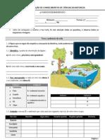 Teste 1- 2011/2012 (Biosfera; revestimento e forma dos animais)- 5º ano