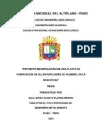 Diana Flores Medina PROYECTO DE INSTALACIÓN DE UNA PLANTA DE FABRICACIÓN DE OLLAS REPUJADAS DE ALUMINIO, EN LA REGION PUNO
