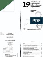 considerações sobre o governo representativo. brasília, editora da unb. 1981, pp. 5 - 38, 87 - 99, 147 - 156. mill, j. s.