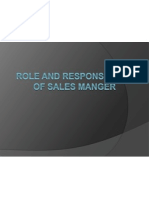 Role and Responsibility of Sales Manger