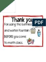 Thank You Bathroom Sign