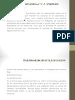INVERSIONES DURANTE LA OPERACIÓN
