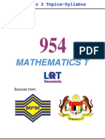 954 Math T [PPU] Semester 2 Topics-Syllabus