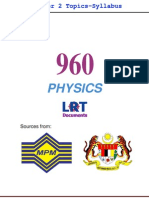 960 Physics [PPU] Semester 2 Topics-Syllabus