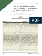 Diagnostico Das Hemoglobinopatias e Beta-Talassemias Atraves de Cromatografia Liquida de Alta Resolucao