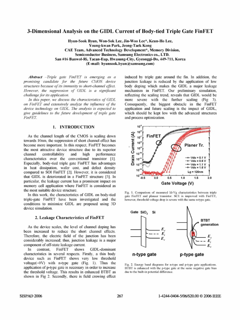 3 Dimensional Analysis On The Gidl Current Of Body Tied Triple Gate