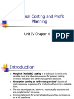 Marginal and Profit Planning - Unit IV Ch 4