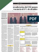 Dos fallos contradictorios del JNE ponen al borde de la vacancia a 15% de alcaldes