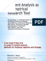Content Analysis as an Empirical Research Tool