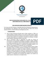 Declaracion Mujeres Rurales Fio 2012