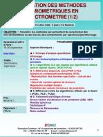 Formation Continue Utilisation Des Methodes Chimiometriques en Spectrometrie 2013