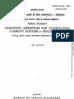 Is 3070 Part 3 1993 Lightning Arresters for Alternating Current Systems - Specification - Part 3 Metal Oxide Lightning Arresters Without Gaps