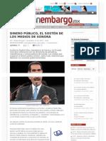 12-11- 12  DINERO PÚBLICO, EL SOSTÉN DE LOS MEDIOS DE SONORA