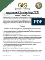 Ghana 2013 Mission trip info Pack