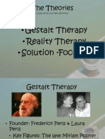 Reality, Gestalt and Solution-Focused therapy