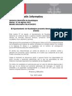 07-08-2012 El Ayuntamiento de Guadalajara presenta denuncia por tala de árboles