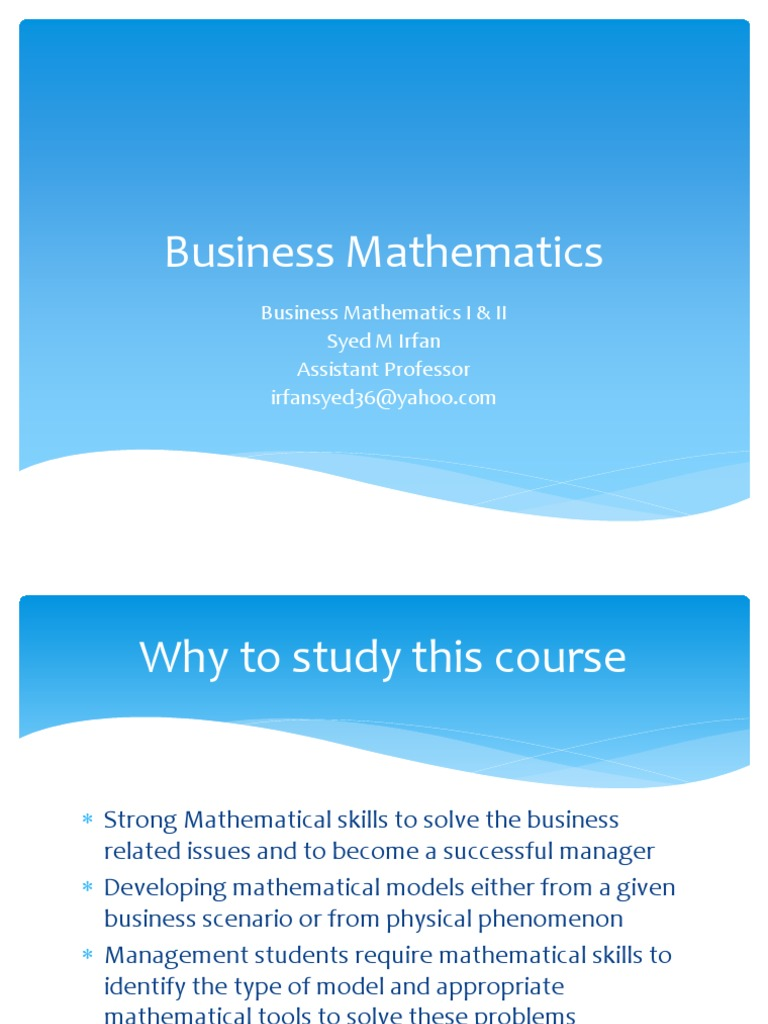 Applied Mathematics For Business, Economics and Social Science ...