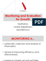 Monitoring and evaluation for growth