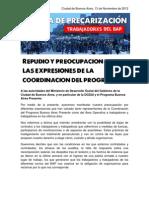 Repudio y preocupación ante las expresiones de la Coordinación del Programa Buenos Aires Presente (BAP)