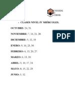 DÍAS DE CLASES NIVEL IV MIÉRCOLES