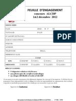 Bulletin d'engagement concours ALCDP 01&02 décembre 2012