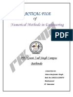 Practical File Of Numerical Methods in Engineering