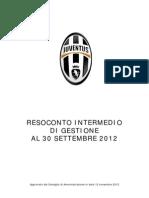 Juventus FC, Resoconto intermedio di Gestione al 30.09.2012  (1Q 2012)