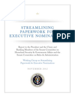 Report of Working Group on Streamlining Paperwork for Executive Nominations Final